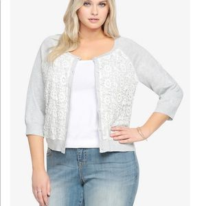 Torrid Plus Gray Crochet Lace Crop Cardigan Size 1